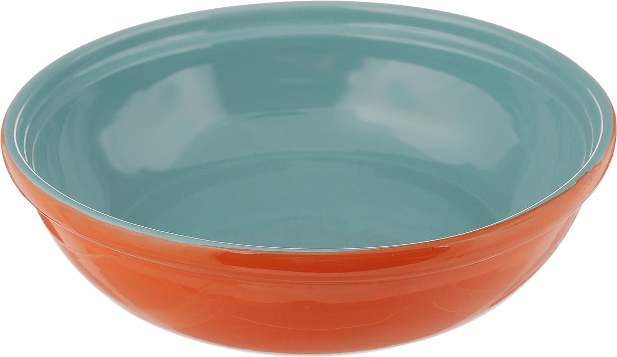 Салатник Борисовская керамика Модерн, цвет: оранжевый, бирюзовый, 1 л115610Салатник Борисовская керамика Модерн выполнен из высококачественной глазурованной керамики. Этот удобный салатник придется по вкусу любителям здоровой и полезной пищи. Благодаря современной удобной форме, изделие многофункционально и может использоваться хозяйками на кухне как в виде салатника, так и для запекания продуктов, с последующим хранением в нем приготовленной пищи. Посуда термостойкая. Можно использовать в духовке и микроволновой печи.Диаметр (по верхнему краю): 22 см.Высота стенки: 6 см.