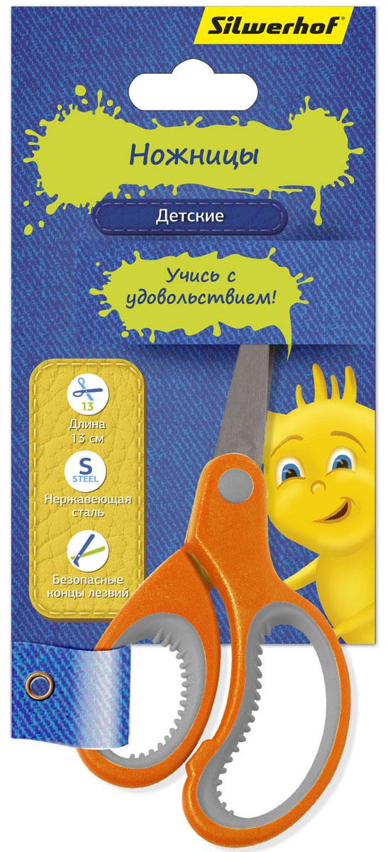 Silwerhof Ножницы детские Джинсовая коллекция цвет оранжевый 13 см453082_оранжевыйДетские ножницы Silwerhof Джинсовая коллекция прекрасно подойдут для детского творчества. Лезвия выполнены из нержавеющей стали с закругленными концами, что делает процесс работы с ними безопасным для ребенка. Благодаря эргономичной форме пластиковых ручек модель отлично ложится как в детскую, так и во взрослую руку. Ножницы хорошо справляются с резкой бумаги, картона и станут незаменимым помощником в процессе создания аппликаций и других поделок.