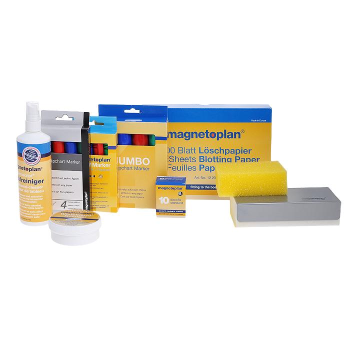 Набор для досок и флипчартов Magnetoplan2048884-70Набор принадлежностей для досок и флипчартов Magnetoplan предназначен для проведения презентаций, а также очищения доски после них. В набор входят: магнитный стиратель, салфетки для стирания, спрей-очиститель, универсальный очиститель Magnetoplan, набор маркеров Magnetoplan, набор маркеров для флипчартов, набор маркеров Jumbo (большого диаметра со скошенным наконечником) для флипчартов и десять круглых магнитов Discofix Standart. Маркеры идеально подходят для письма или выполнения эскизов как на бумаге, так и на магнитно-маркерных флипчартов. Чернила выполнены на водной основе, они не расплываются и не просачиваются сквозь бумагу. Маркеры представлены четырех цветов: синего, черного, красного и зеленого. Характеристики: Материал: пластик, текстиль, поролон, металл. Средняя длина маркера: 14 см. Объем спрея: 250 мл. Диаметр магнита: 3 см. Размер салфетки: 16 см х 23 см. Размер упаковки: 24 см х 30,5 см х 7 см.