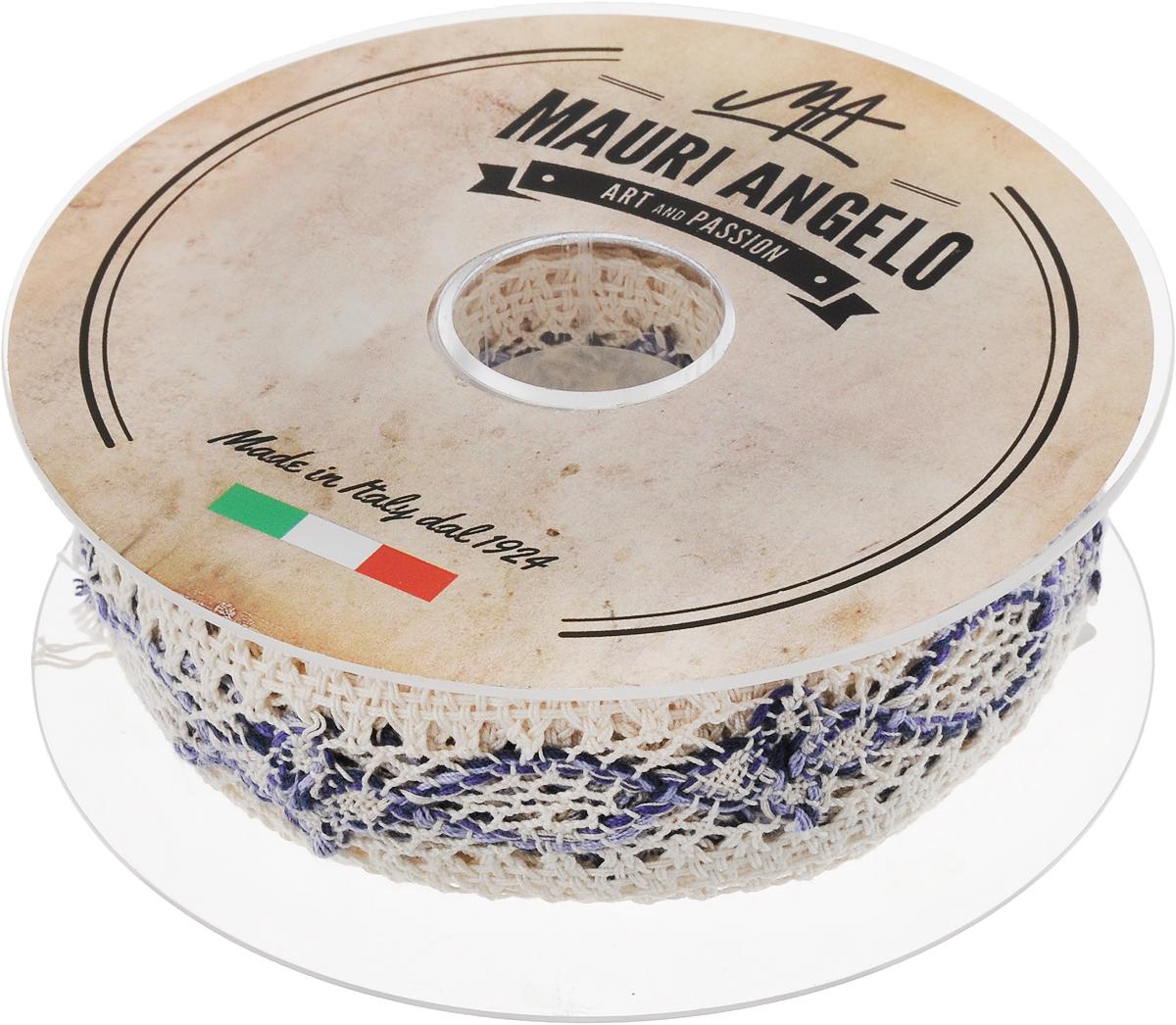 Лента кружевная Mauri Angelo, цвет: белый, синий, 3,6 см х 10 мKOC_GIR288LEDBALL_RДекоративная кружевная лента Mauri Angelo - текстильное изделие без тканой основы, в котором ажурный орнамент и изображения образуются в результате переплетения нитей. Кружево применяется для отделки одежды, белья в виде окаймления или вставок, а также в оформлении интерьера, декоративных панно, скатертей, тюлей, покрывал. Главные особенности кружева - воздушность, тонкость, эластичность, узорность.Декоративная кружевная лента Mauri Angelo станет незаменимым элементом в создании рукотворного шедевра. Ширина: 3,6 см.Длина: 10 м.