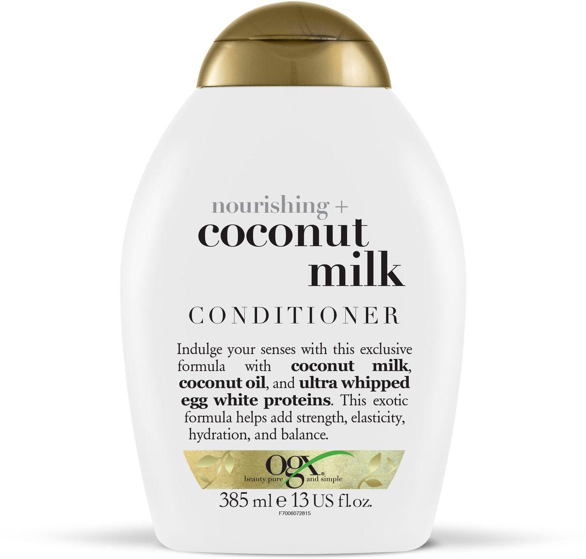 OGX Питательный кондиционер с кокосовым молоком, 385 мл97006Питательный кондиционер с кокосовым молоком– питает и увлажняет волосы, придавая им гладкость и блеск, кокосовое масло, входящее в состав продукта наполняет волосы влагой от корней до самых кончиков, восстанавливая водный баланс. Придает волосам силу.