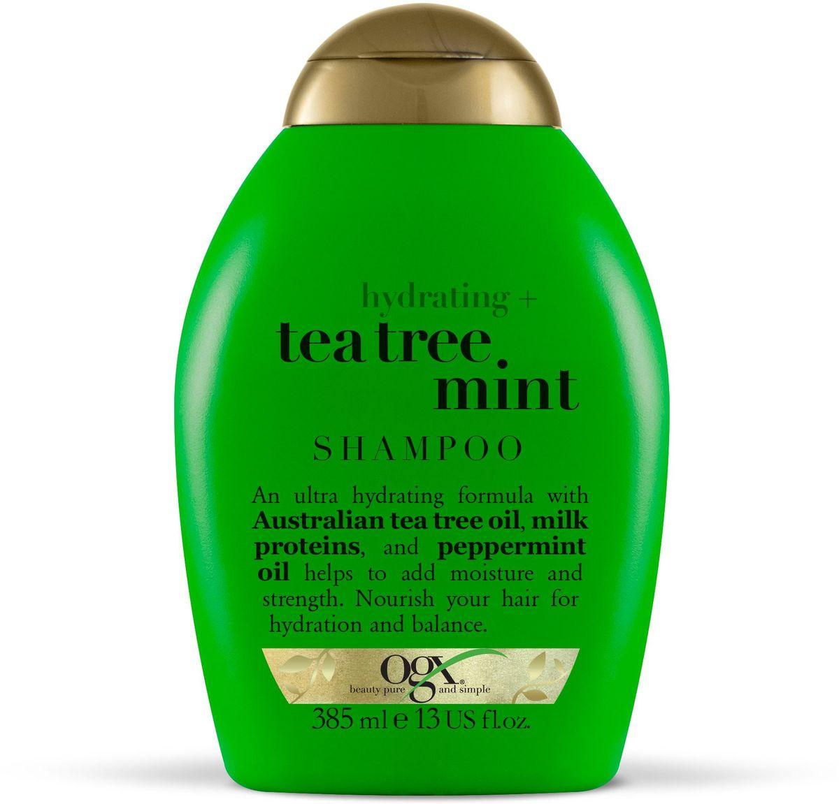 OGX Увлажняющий Шампунь с Маслом чайного дерева и Ментолом, 385 мл.97014Увлажняющий шампунь с маслом чайного дерева и ментолом увлажняет и укрепляет волосы, делая их гладкими и послушными. Помогает поддерживать естественный баланс и наполняют волосы молочным белком.