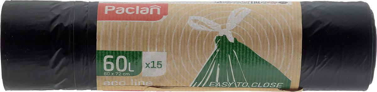 Пакеты для мусора Paclan Eco Line, с завязками, 60 л, 15 шт133780Пакеты для мусора Paclan Eco Line имеют высокую толщину и плотность материала, что позволяет применять их для выноса большого количества мусора при проведении строительных и ремонтных работ, сезонных уборок уличных территорий. Специальные прочные и удобные завязки помогут легко завязать пакет. Пакеты в рулоне, отрываются строго по линии отрыва. Размер пакета: 60 х 72 см.