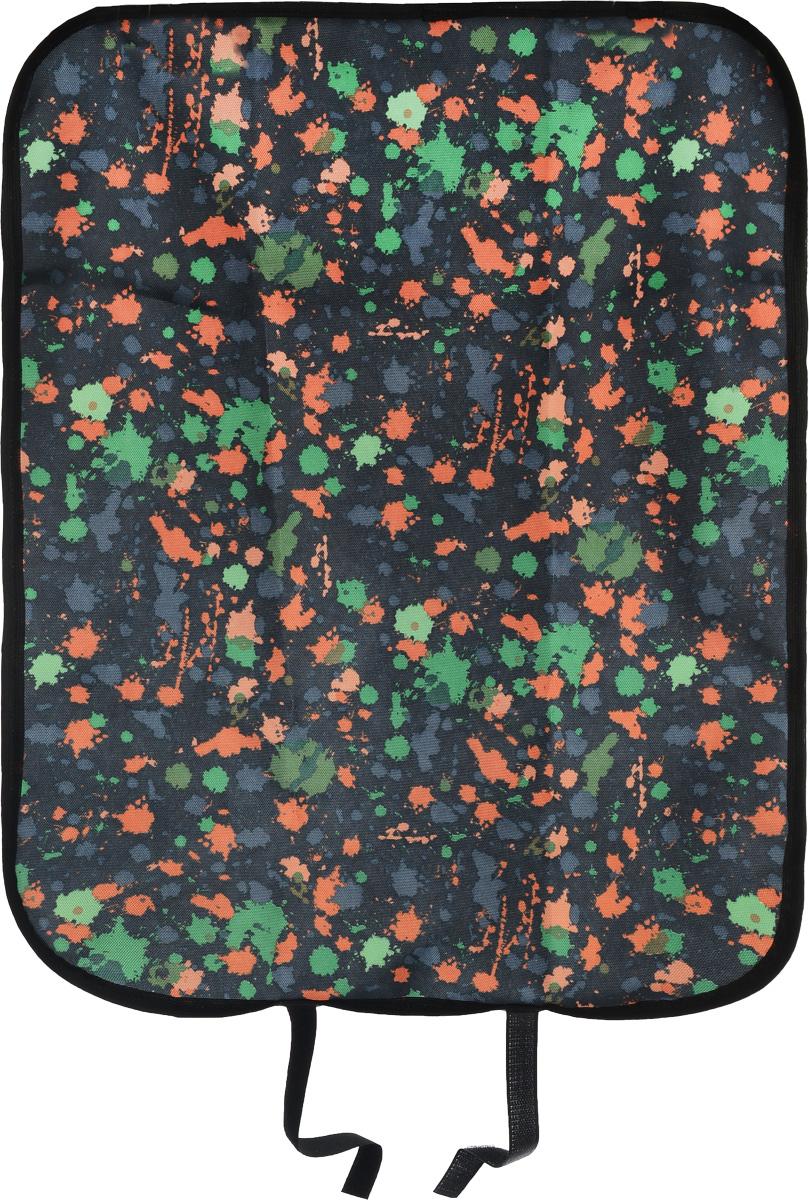 Накидка защитная на спинку сиденья Zipower Кляксы, 60 х 45 смPM 6263_черный, зеленый, оранжевыйНакидка Zipower, выполненная из 100% полиэстера с ярким рисунком, защищает спинку сиденья от грязной обуви ребенка и последствий детских шалостей. Отталкивает воду и грязь, легко моется. Легко надевается и снимается. Крепится на сиденье с помощью липучек и резинки. Накидка понравится ребенку благодаря яркой расцветке.