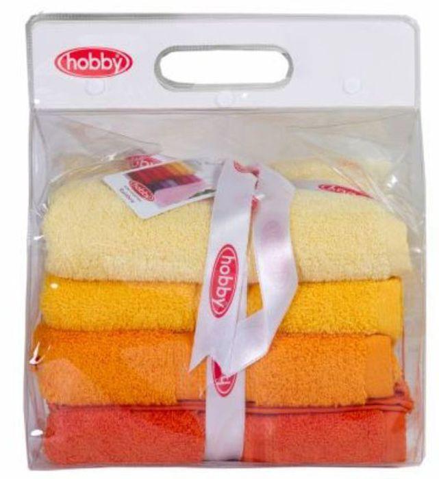Набор полотенец Hobby Home Collection Rainbow, цвет: желтый, оранжевый, темно-оранжевый, 50 х 90 см, 4 шт1501001193Набор Hobby Home Collection Rainbow состоит из четырех махровых полотенец, выполненных из натурального 100% хлопка. Изделия мягкие, отлично впитывают влагу, быстро сохнут, сохраняют яркость цвета и не теряют форму даже после многократных стирок. Полотенца Hobby Home Collection Rainbow очень практичны и неприхотливы в уходе. Они легко впишутся в любой интерьер благодаря своей нежной цветовой гамме. Размер полотенец: 50 х 90 см.