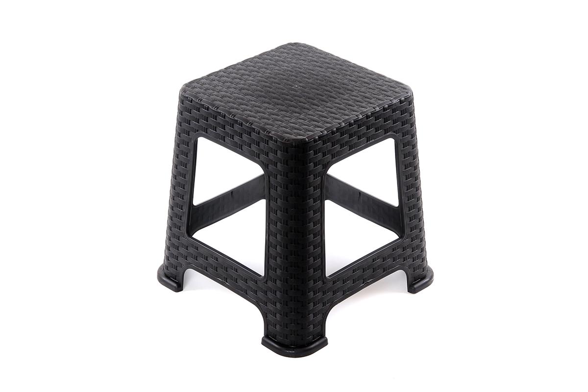 Табурет Violet Плетеный, цвет: черный, 38 х 38 х 45 см810531Легкий и удобный стул. Можно использовать для дома и дачи. Выполнен из экологически чистого пластика.