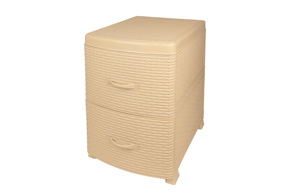 Комод-тумба Violet Ротанг, двухсекционный, цвет: бежевый, 38 х 48 х 52 см810577Универсальный комод-тумба с 2 выдвижными ящиками. Выполнен из экологически чистого пластика. Идеально подходит для хранения игрушек и других хозяйственных предметов. Может использовать в качестве прикроватной тумбы. Поставляется в разобранном виде.