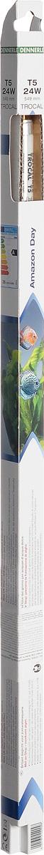 Лампа люминесцентная Dennerle Amazon Day, Т5, 24 Вт, длина 54,9 смDEN2904Люминесцентная лампа Dennerle Amazon Day предназначена для освещения пресноводных аквариумов. Лампа покрыта UV-стоп защитной пленкой для предотвращения роста водорослей. Чистый живой свет, аналогичный свету в полдень в хороший солнечный день, создает теплую гармоничную атмосферу в аквариуме. Высокая степень цветопередачи позволяет освещать рыбу и растения в самых выигрышных тонах. Изделие излучает превосходный свет для роста всех аквариумных растений. Лампа изготовлена по новейшей технологии Longlife-Technik, что гарантирует свыше 10000 часов работы.