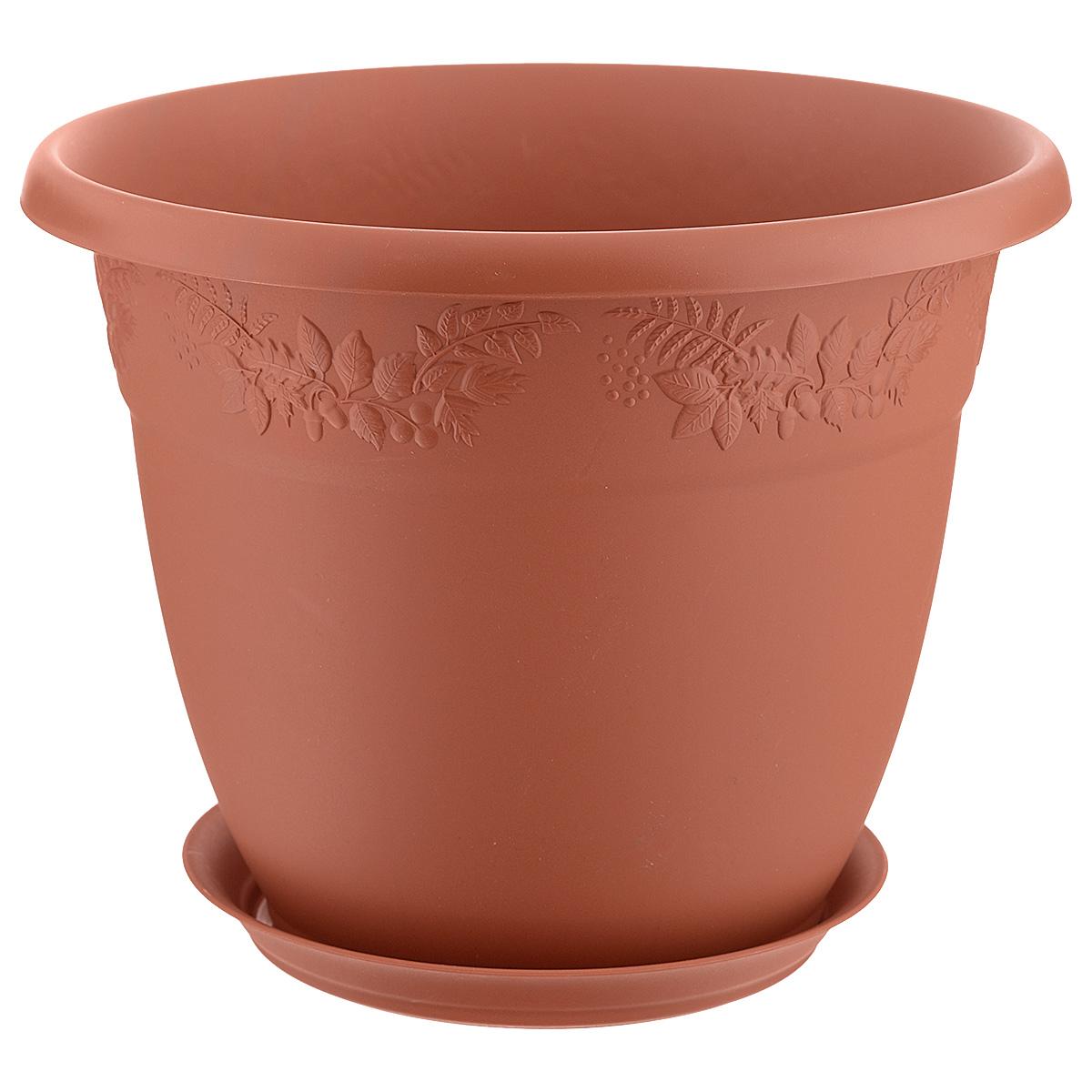 Кашпо Idea Рябина, с поддоном, цвет: терракотовый, 5 лМ 3056Кашпо Idea Рябина изготовлено из высококачественного полипропилена (пластика). Специальный поддон предназначен для стока воды. Изделие прекрасно подходит для выращивания растений и цветов в домашних условиях. Лаконичный дизайн впишется в интерьер любого помещения. Диаметр поддона: 17,5 см. Объем кашпо: 5 л. Диаметр кашпо по верхнему краю: 25 см. Высота кашпо: 20 см.