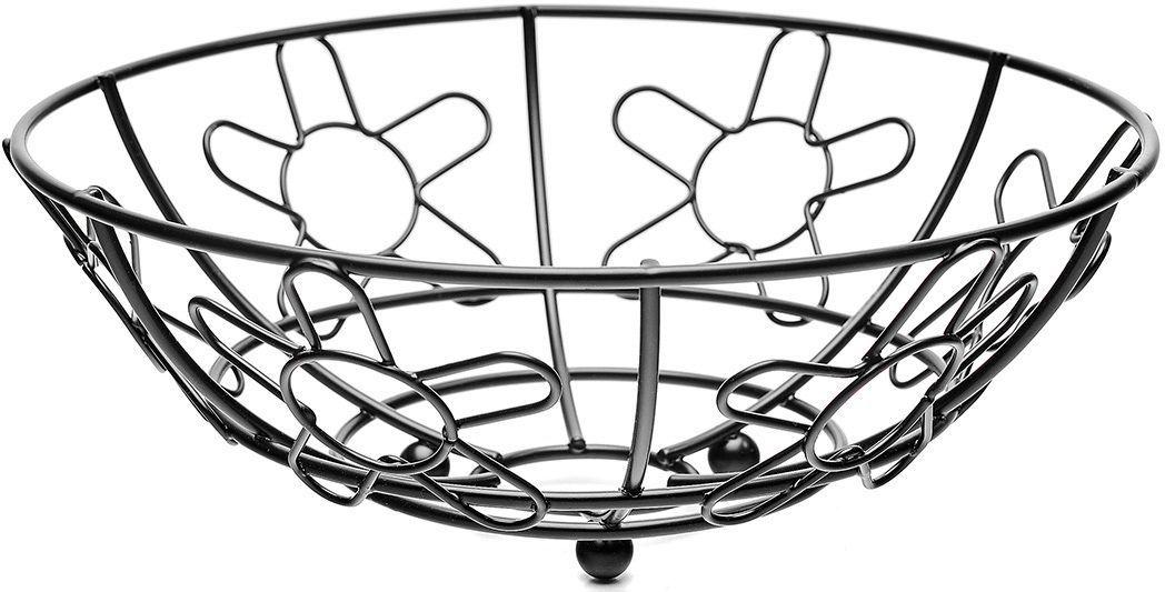 Корзина для фруктов Walmer Flower, цвет: черный, диаметр 24 смW14242496Каждому хочется иметь на своей кухне стильный и практичный аксессуар, который будет не только красивой частью интерьера, но и прекрасным помощником. Именно такая вещь - корзина для фруктов из серии Flower от известной британской фирмы Walmer. Легкая, яркая и стильная - это то, что приходит в голову при взгляде на нее. Поставьте ее на стол к приходу гостей или во время семейного ужина, и вы увидите, как преобразится ваш интерьер. Корзина для фруктов не будет занимать слишком много места на вашей кухне, ведь ее окружность всего 24 см. Но, несмотря на свой небольшой размер, она очень вместительна. Корзина изготовлена в популярной и практичной круглой форме. Она удачно дополнит любой интерьер и станет удачным подарком для друзей и близких.