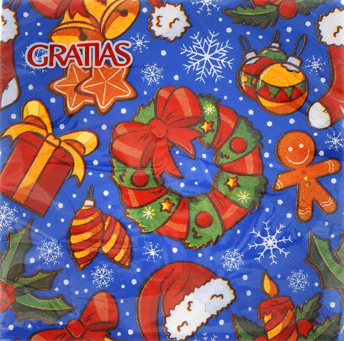 Салфетки бумажные Gratias Рождество, трехслойные, 33 х 33 см, 20 шт92230Трехслойные бумажные салфетки Gratias Рождество, выполненные из натуральной целлюлозы, станут отличным дополнением любого праздничного стола. Они отличаются необычной мягкостью и прочностью. Размер салфетки: 33 х 33 см. Количество слоев: 3.