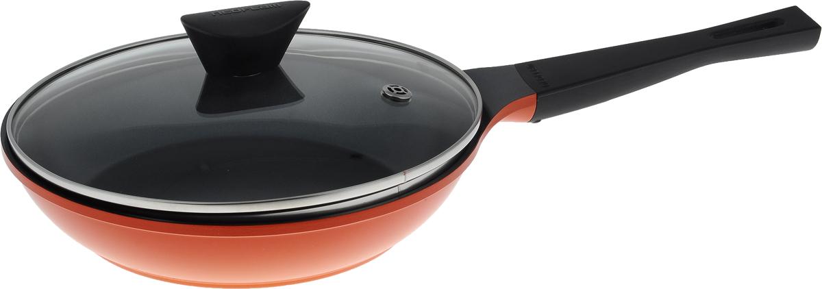 Сковорода Frybest Orange с крышкой, с керамическим покрытием. Диаметр 24 смORCA-F24K Orange_оранжевыйСковорода Frybest Orange изготовлена по новейшей технологии из литого алюминия с керамическим антипригарным покрытием Ecolon, которое убережет от прилипания, пригара, а также от длительного мытья посуды после готовки. Стеклянная крышка с отвесртием для выпуска пара позволяет следить за процессом приготовления. Непревзойденная прочность сковороды и устойчивость к царапинам позволяет использовать металлические аксессуары при приготовлении пищи, а эргономичная удлиненная ручка с силиконовым покрытием Soft-touch имеет оригинальное технологическое крепление к телу сковороды и всегда остается холодной. Сковорода подходит для газовых, электрических и стеклокерамических плит. Можно мыть в посудомоечной машине. Диаметр сковороды по верхнему краю: 24 см. Высота стенки: 5,2 см. Длина ручки: 19 см.