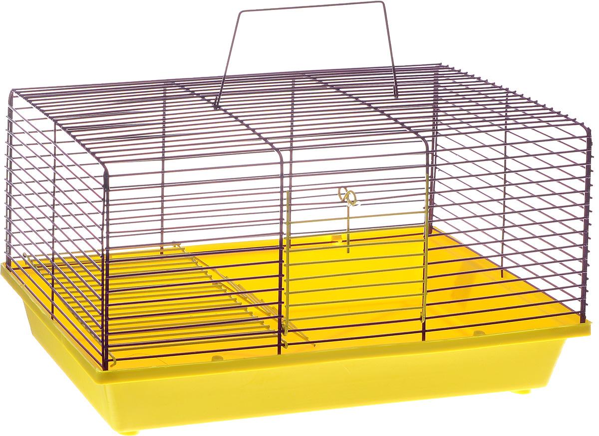 Клетка для хомяка ЗооМарк, 2-этажная, цвет: желтый поддон, фиолетовая решетка, 36 х 23 х 20 см111ЖФДвухэтажная клетка ЗооМарк, выполненная из полипропилена и металла, подходит для хомяков или других небольших грызунов. Она имеет яркий поддон, удобна в использовании и легко чистится. Сверху имеется ручка для переноски. Такая клетка станет уединенным личным пространством и уютным домиком для маленького грызуна.