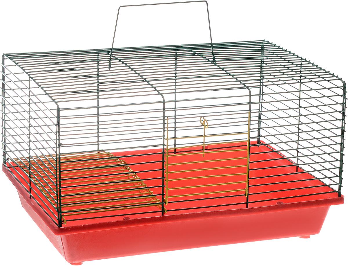 Клетка для хомяка ЗооМарк, 2-этажная, цвет: красный поддон, зеленый решетка, 36 х 23 х 20 см111КЗДвухэтажная клетка ЗооМарк, выполненная из полипропилена и металла, подходит для хомяков или других небольших грызунов. Она имеет яркий поддон, удобна в использовании и легко чистится. Сверху имеется ручка для переноски. Такая клетка станет уединенным личным пространством и уютным домиком для маленького грызуна.