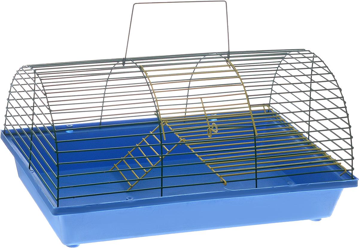 Клетка для грызунов ЗооМарк, цвет: синий поддон, зеленая решетка, 36 х 23 х 17,5 см(110ж)СЗКлетка ЗооМарк, выполненная из полипропилена и металла, подходит для грызунов. Она имеет яркий поддон, удобна в использовании и легко чистится. Клетка оснащена вторым ярусом с лесенкой, выполненных из металла. Такая клетка станет уединенным пространством и уютным домиком для маленького грызуна.