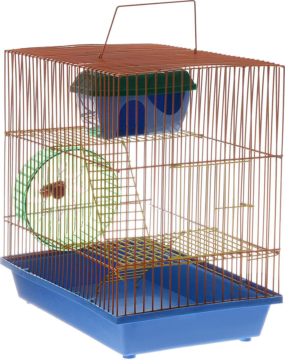 Клетка для грызунов ЗооМарк, 3-этажная, цвет: синий поддон, оранжевая решетка, желтые этажи, 36 х 23 х 34,5 см135жСОКлетка ЗооМарк, выполненная из полипропилена и металла, подходит для мелких грызунов. Изделие трехэтажное, оборудовано колесом для подвижных игр и пластиковым домиком. Клетка имеет яркий поддон, удобна в использовании и легко чистится. Сверху имеется ручка для переноски. Такая клетка станет уединенным личным пространством и уютным домиком для маленького грызуна.