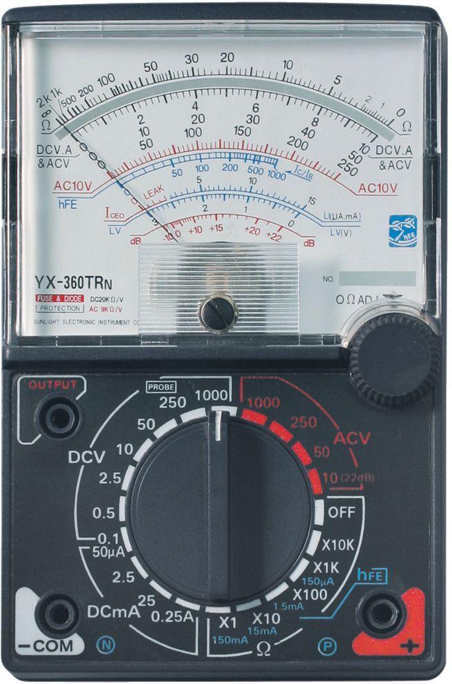 Мультиметр ТЕК YX-360 TRn61/10/220Постоянное напряжение 0,1-0,5-2,5-10-50-250-1000 +/- 0,5% V Постоянный ток 50мк-2,5м-25м-0,25А+/-1,2% А Сопротивление 2к-20к-200к-2М-0МОм+/-1,8% мОм Рабочая температура 0/+40 °С
