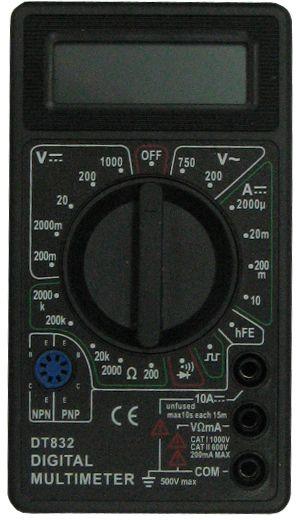 Мультиметр ТЕК DT 832CA-3505Постоянное напряжение 200м-2000м-20-200-1000 VПостоянный ток 2м-20м-200м-10А+/-1,2% АСопротивление 200-2к-20к-200к-2М-20М-200МОм+/-1,0% мОмРабочая температура 0/+40 °С