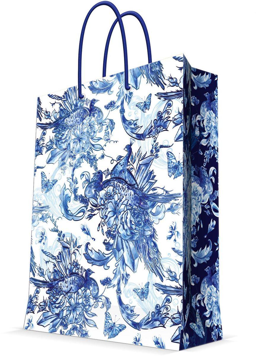 Пакет подарочный Magic Home Голубые цветы, 26 х 32,4 х 12,7 см44238Бумажный пакет для сувенирной продукции , с ламинацией, с шириной основания 26 см, плотность бумаги 140 г/м2