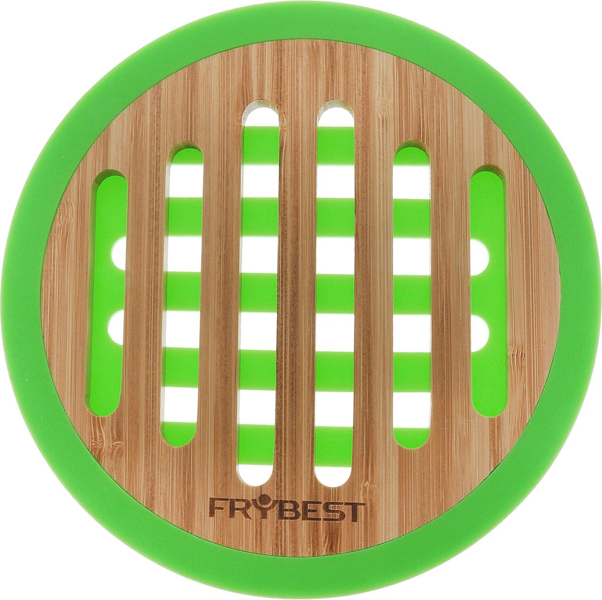 Подставка под горячее Frybest Murmure de Bambou, круглая, цвет: зеленый, диаметр 20 смTR40621B1N1Подставка под горячее Frybest Murmure de Bambou, изготовленная из натурального бамбука с силиконовыми вставками, идеально впишется в интерьер современной кухни. Каждая хозяйка знает, что подставка под горячее - это незаменимый и очень полезный аксессуар на каждой кухне. Ваш стол будет не только украшен оригинальной подставкой, но и сбережен от воздействия высоких температур ваших кулинарных шедевров. Размер подставки: 20 х 20 х 1 см.