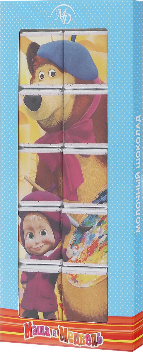 Монетный двор Маша и Медведь набор молочного шоколада, 50 г (пазл) 14989_голубой