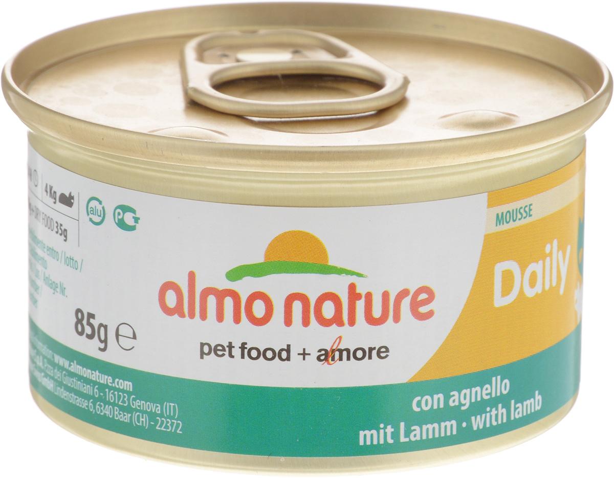 Консервы для кошек Almo Nature Daily Menu, мусс с ягненком, 85 г0120710Приятный сюрприз для вашей кошки - нежное мясо, превращенное в деликатный мусс с использованием ингредиентов высочайшего качества. Любая привереда замурлыкает от удовольствия, если у нее в миске окажется такой деликатес как консервы Almo Nature Daily Menu. Особый метод приготовления консервированного корма Almo Nature сохраняет привлекательный аромат и свежесть продукта, ведь мясо приготавливается в собственном бульоне и только затем превращается в мусс. Минералы, также присутствующие в составе, особенно медь, участвуют в формировании костной и тканевой системе, выполняют функции антиоксиданта.Состав: мясо и его производные (ягненок 4%), минералы, экстракт растительных волокон.Добавки: витамин A 1110 IU/кг, витамин D3 140 IU /кг, витамин E 10 мг/кг, таурин 490 мг/кг, сульфат меди пентагидрат 4,4 мг/кг (Cu 1.1 мг/кг).Технологические добавки: камедь кассии 3000 мг/кг.Пищевая ценность: белки 9,5 %, клетчатка 0,4 %, масла и жиры 6%, зола 2%, влажность 81%.Калорийность: 881 ккал/кг.Товар сертифицирован.