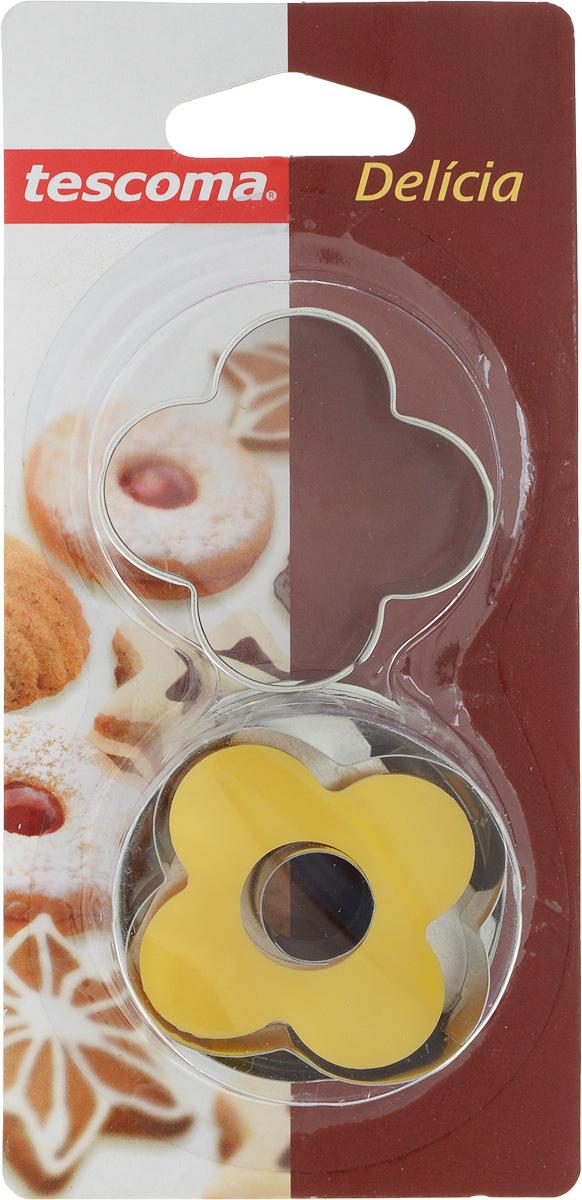 Пресс-форма для печенья Tescoma Цветок, цвет: желтый, стальной, диаметр 5 см, 2 шт631250_цветокПресс-форма Tescoma Цветок для печенья выполнена из высококачественного металла и пластика. С помощью пресс-формы вырежьте из теста форму, перенесите на лист и нажатием пружины выдавите тесто. Не рекомендуется мыть в посудомоечной машине. Диаметр формы: 5 см.