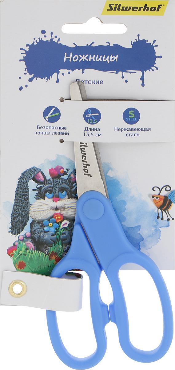 Silwerhof Ножницы детские Пластилиновая коллекция цвет голубой 13,5 см453079Детские ножницы Silwerhof Пластилиновая коллекция прекрасно подойдут для детского творчества. Лезвия выполнены из высокоуглеродистой стали с закругленными концами, что делает процесс работы с ними безопасным для ребенка. Благодаря эргономичной форме пластиковых ручек, модель отлично ложится как в детскую, так и во взрослую руку. Ножницы хорошо справляются с резкой бумаги, картона и станут незаменимым помощником в процессе создания аппликаций и других поделок.