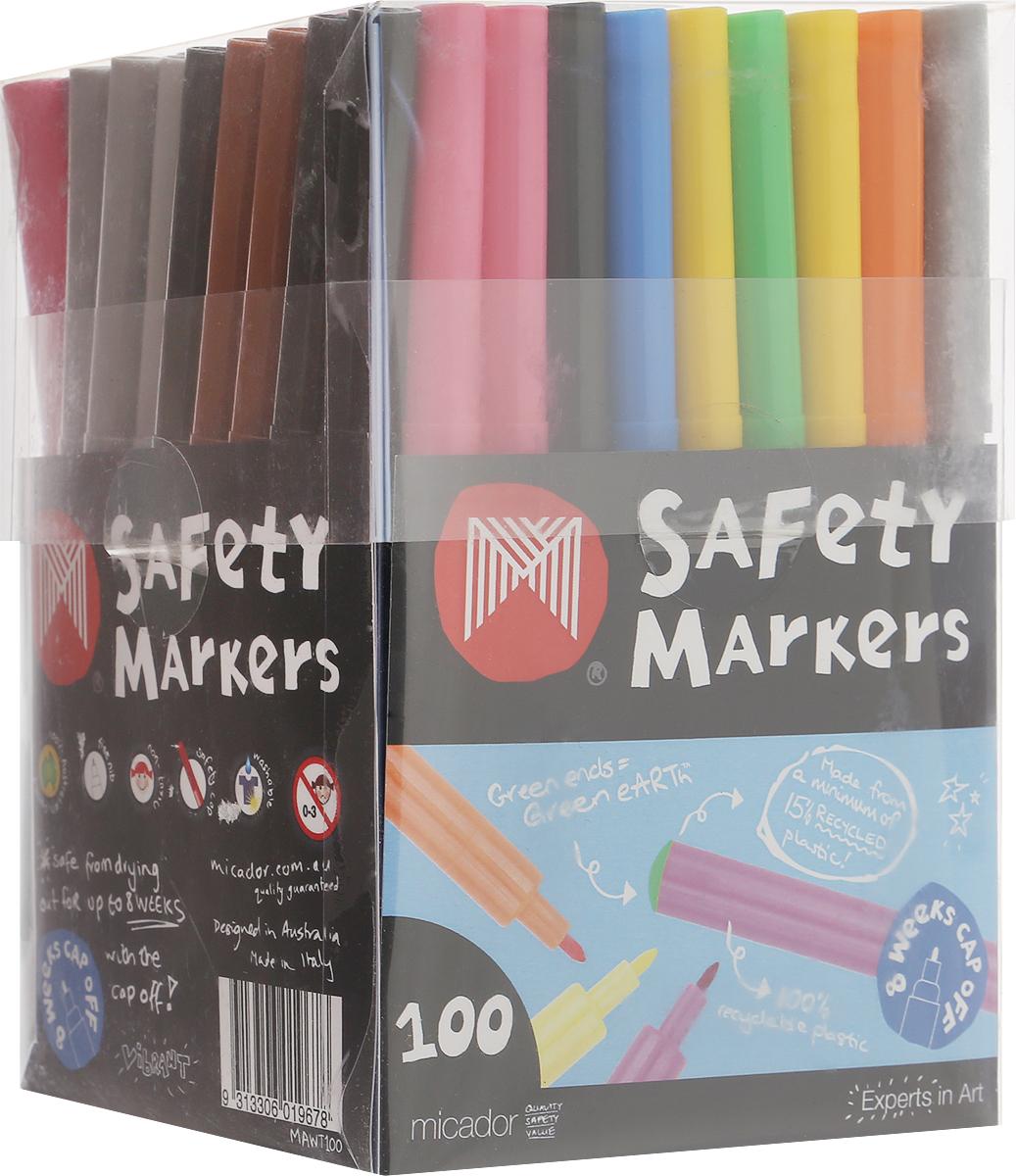 Micador Фломастеры 100 штMAWT100Фломастеры Micador классических цветов на водной основе оценят не только маленькие художники, но их родители. Фломастеры не содержат спирта, растворителей и токсичных компонентов, поэтому полностью безопасны для маленьких детей. Фломастеры имеют яркие насыщенные цвета, чернила не расплываются на бумаге, что позволяет делать четкие линии. Изготовлены по запатентованной технологии Easy Wash. Отлично смываются как с кожи, так и с других поверхностей (ткани, мебели), что обязательно оценят родители. Фломастеры долговечные они не высыхают с открытым колпачком до 8 недель, при необходимости легко заправляются водой, а это значит, вам не придется покупать все новые и новые фломастеры долгое время. Рисование развивает творческие способности, воображение, логику, память, мышление. Австралийский бренд Micador - эксперт в товарах для детского творчества с 1954 года.