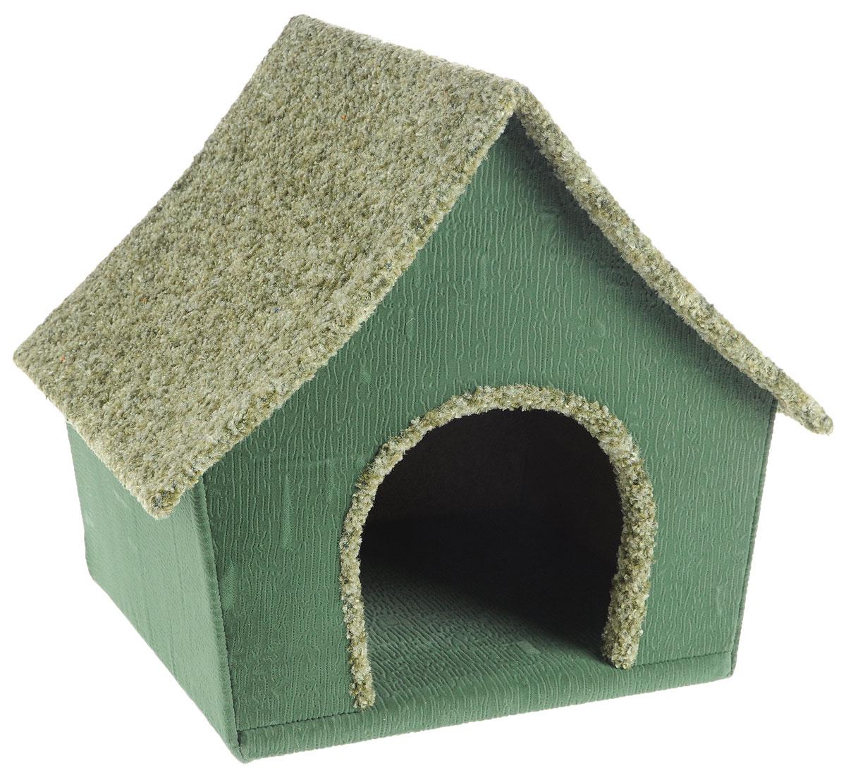 Домик для животных Неженка Китайский, цвет: зеленый, 42 х 36 х 38 см0120710Большой, уютный домик Китайский, выполненный из ДСП, обитый тканью, отлично подойдет для вашего любимца. Такой домик станет не только идеальным местом для сна вашего питомца, но и местом для отдыха. Для максимального комфорта наружные части обтянуты мягкой тканью. Изделие имеет большой вход.Удобный и мягкий, он станет не только отличным домиком для вашего любимца, но еще и оригинальным украшением интерьера.