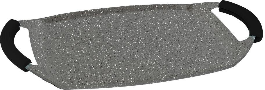 Гриль-плато Berlinger Haus Granit Diamond Line, цвет: серый, черный, 47 х 28,5 см1084-ВНГриль-плато Berlinger Haus Granit Diamond Line изготовлено из качественного литого алюминия с 3 слоями мраморного покрытия. Такое покрытие предотвращает пригорание пищи, поэтому вы можете использовать меньше подсолнечного масла. Изделие абсолютно безопасно для здоровья и не выделяет вредных веществ во время готовки. Специальное индукционное дно TURBO INDUCTION экономит 35% энергии. Тепло распределяется равномерно по всей поверхности посуды, что позволяет пище готовиться быстрее. Кроме того, такое дно делает возможным использование гриля на плите для обжаривания пищи. Изделие снабжено удобными эргономичными ручками со съемными силиконовыми накладками, которые не нагреваются в процессе приготовления пищи и не дают вашим рукам обжечься. Гриль-плато подходит для газовых, электрических, галогенных, индукционных плит. Можно мыть в посудомоечной машине. Можно ставить в духовку, выдерживает температуру до +300°С.