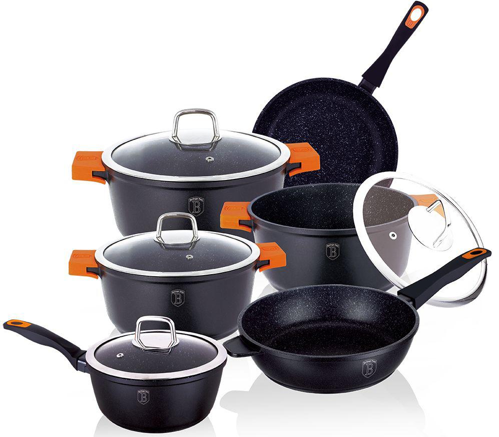 Набор посуды Berlinger Haus Granit Diamond Line, цвет: черный, оранжевый, 10 предметов1111-ВННабор посуды Berlinger Haus Granit Diamond Line состоит из 3 кастрюль с крышками, 2 сковород, ковша с крышкой. Посуда изготовлена из литого алюминия с высококачественным мраморным антипригарным покрытием в 3 слоя. Такое покрытие предотвращает пригорание пищи и ее прилипание к стенкам. Оно абсолютно безопасно для здоровья и не выделяет вредных веществ во время готовки. Специальное индукционное дно TURBO INDUCTION экономит 35% энергии. Тепло распределяется равномерно по всей поверхности посуды, что позволяет пище готовиться быстрее. Сковороды оснащены ручками с покрытием soft-touch, а кастрюли - удобными ручками со съемными силиконовыми накладками. Такие ручки не нагреваются в процессе приготовления пищи и не дают вашим рукам обжечься. Крышки выполнены из жаростойкого стекла и снабжены ручкой из нержавеющей стали (безопасны для использования в духовке). Посуда подходит для газовых, электрических, стеклокерамических, галогенных, индукционных плит. Можно мыть в...