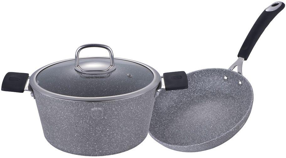 "Набор посуды Berlinger Haus ""Stone Touch Line"", с мраморным покрытием, цвет: серый, черный, 3 предмета. 1183-ВН"