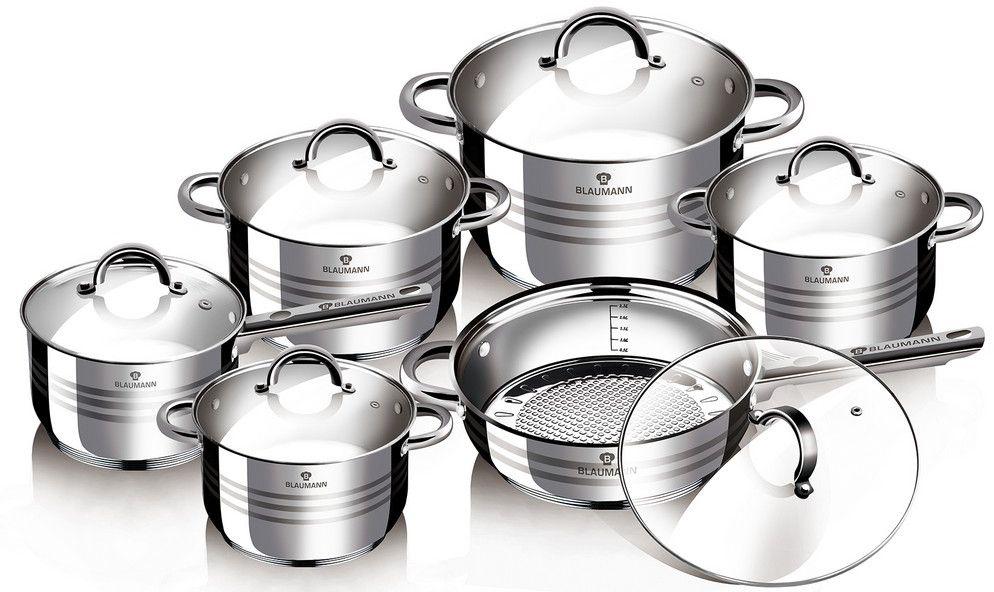 Набор посуды Blaumann Gourmet Line, 12 предметов. 1410-ВL1410-ВLНабор посуды с крышками 12пр., материал: нержавеющая сталь Включают в себя: 1 шт кастрюля 16?10,5 см, 2,1 л 1 шт кастрюля 16?10,5 см, 2,1 л 1 шт кастрюля 18?11,5 см, 2,9 л 1 шт кастрюля 20?12,5 см, 3,9 л 1 шт сотейник 24?14,5 см, 6,5 л 1 шт сковорода 24?7,5 см Упаковка: коробка