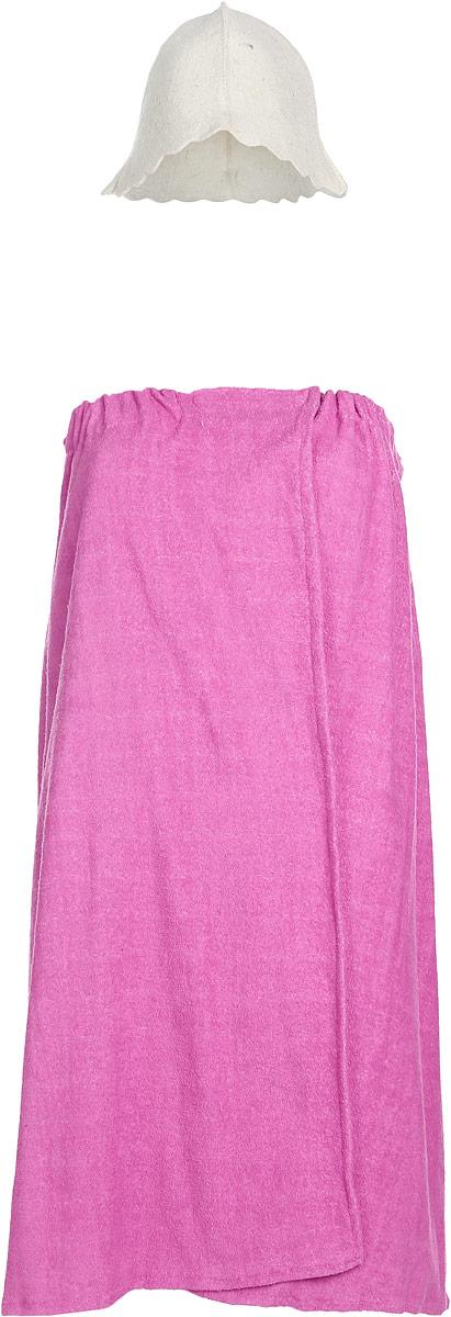 Набор для бани и сауны Proffi Sauna, цвет: белый, розовый, 2 предметаPS0066_белый, розовыйВ набор для бани и сауны Proffi Sauna входят шапка и парео. Шапка выполнена из войлока (шерсть с добавлением полиэфира). Такая шапка защитит волосы от сухости и ломкости, голову от перегрева и предотвратит появление головокружения. Имеется петелька, с помощью которой шапку можно подвесить на крючок в предбаннике. Парео, выполненное из махровой ткани (100% хлопок), снабжено резинкой и застежкой-липучкой. Его можно использовать как коврик для бани, накидку или полотенце. Такой набор поможет с удовольствием и пользой провести время в бане, а также станет чудесным подарком друзьям и знакомым, которые по достоинству его оценят при первом же использовании. Размер парео: 74 х 146 см. Обхват головы шапки: 73 см. Высота шапки: 24 см.