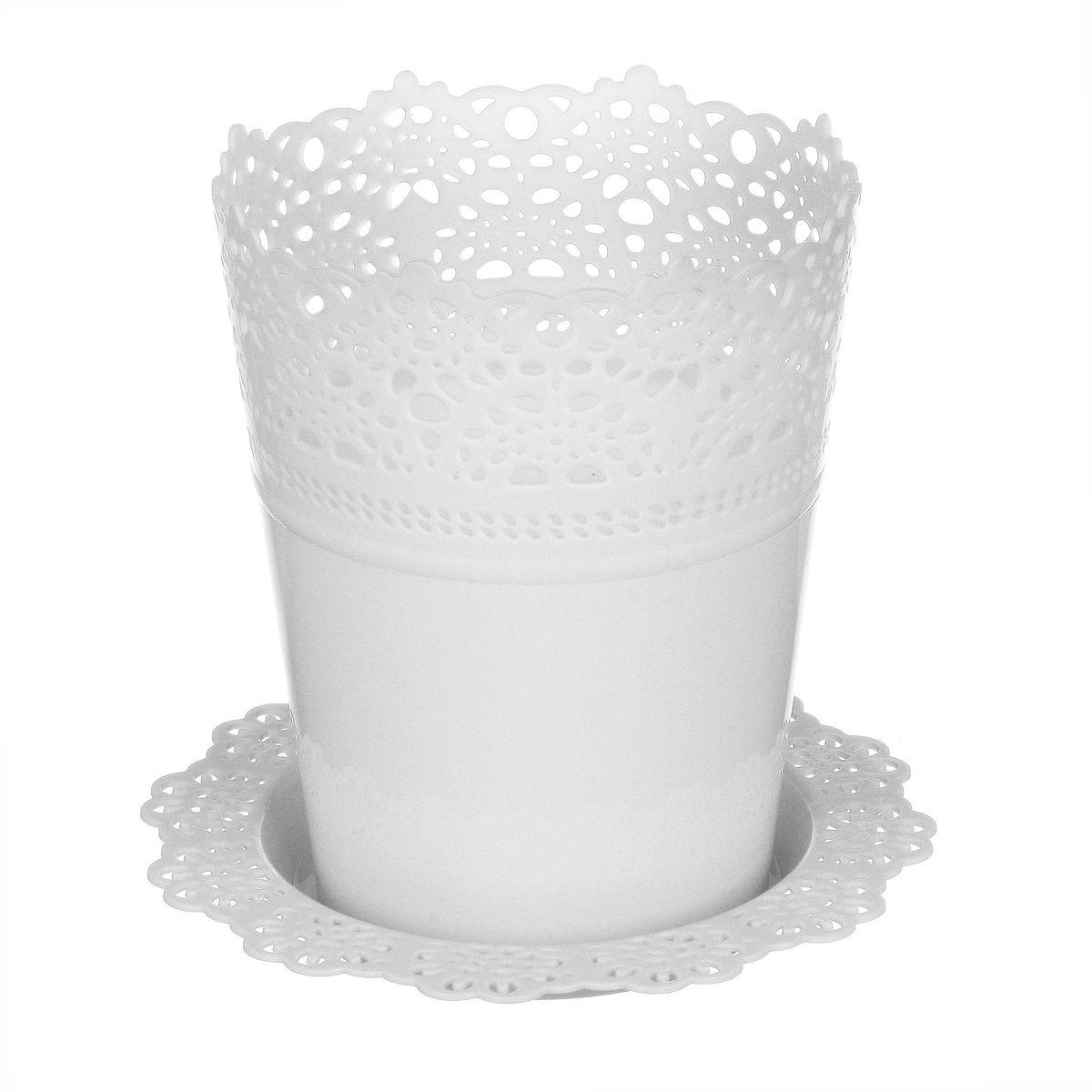 Кашпо Idea Ажур, с подставкой, цвет: белый, диаметр 11,5 смМ 3091