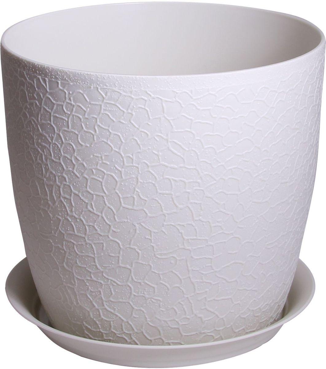 Кашпо Idea Верона, с подставкой, цвет: белый, диаметр 18 смМ 3097