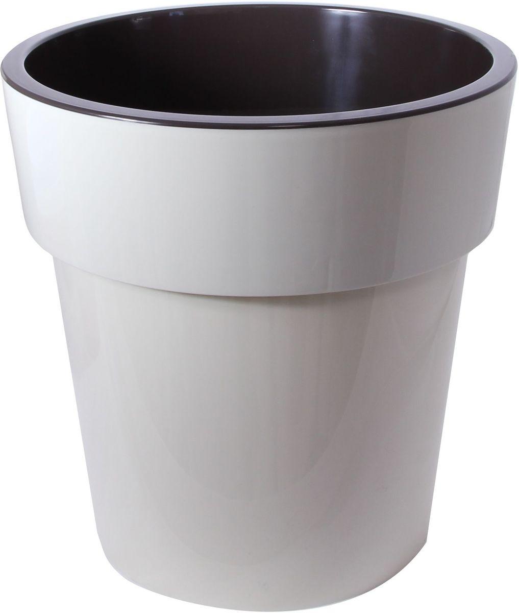 Кашпо Idea Тубус, цвет: светло-бежевый, темно-коричневый, диаметр 25 х 25 х 25,5 смМ 3166Кашпо Idea Тубус изготовлено из прочного пластика. Изделие прекрасно подходит для выращивания растений и цветов в домашних условиях. Стильный современный дизайн органично впишется в интерьер помещения.