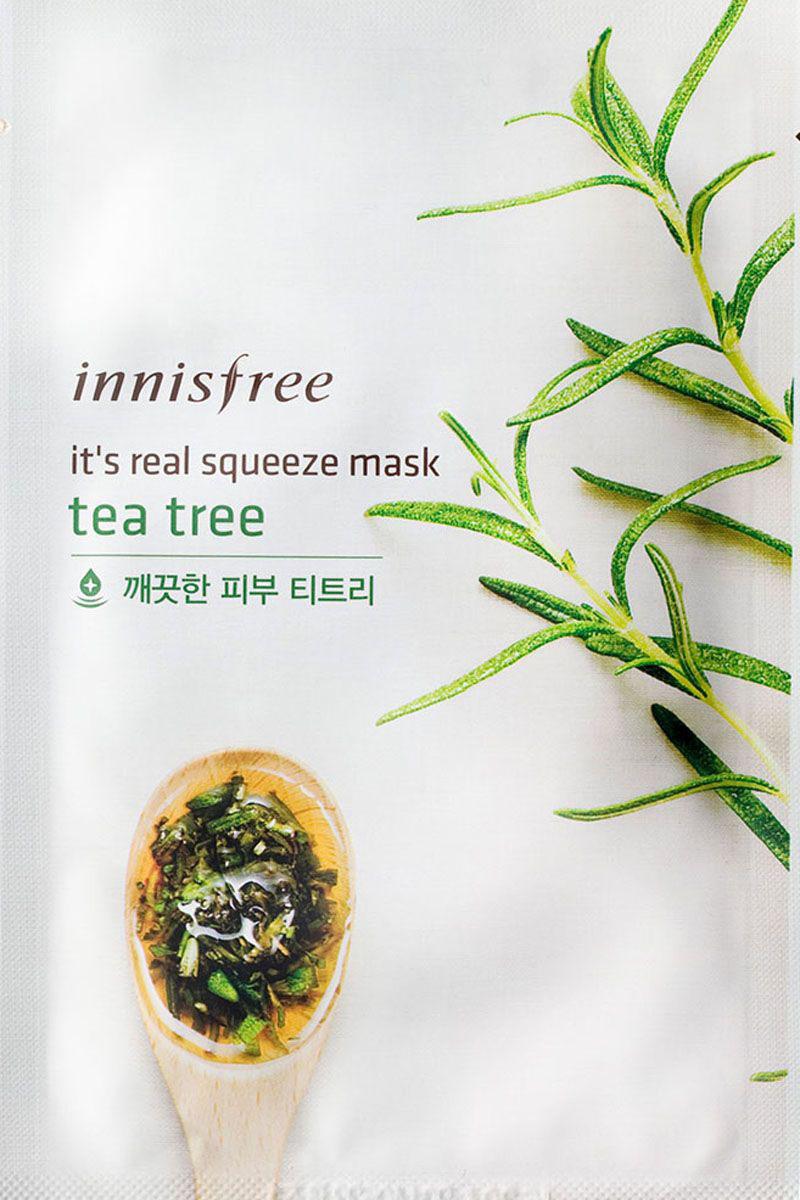 Innisfree Its Real Маска для лица с экстрактом чайного дерева, 20 млУТ-00000257Маска с натуральным соком листьев чайного дерева придает эластичность и здоровый вид коже, обладает увлажняющими и успокаивающими свойствами. Экстракт чайного дерева - мощный природный антисептик, обладает бактерицидными, противогрибковыми, противовирусными свойствами, эффективно воздействует на проблемную кожу, устраняет акне, регулирует выделение кожного жира и снимает разражение.