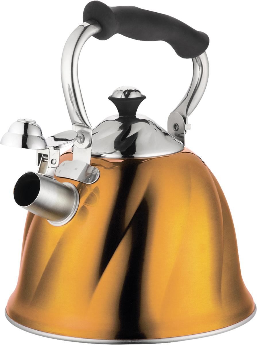 Чайник Marta, со свистком, цвет: золотистый, 3 л. MT-3045CM000001326Чайник Marta выполнен из высококачественной нержавеющей стали и оснащен ненагревающейся складной ручкой с силиконовым покрытием. Теплоемкое трехслойное капсульное дно обеспечивает быстрый нагрев чайника и равномерно распределяет тепло по его корпусу. Кипячение воды занимает меньше времени, а вода дольше остается горячей. Свисток на носике чайника - привычный элемент комфорта и безопасности. Своевременный сигнал о готовности кипятка сэкономит время и электроэнергию, вода никогда не выкипит полностью, а чайник прослужит очень долго. Оригинальный механизм поднятия свистка добавляет чайнику индивидуальности - при поднятии чайника за ручку свисток автоматически открывает носик для удобства наливания кипятка в чашку. Чайник подходит для всех видов плит, кроме индукционных.