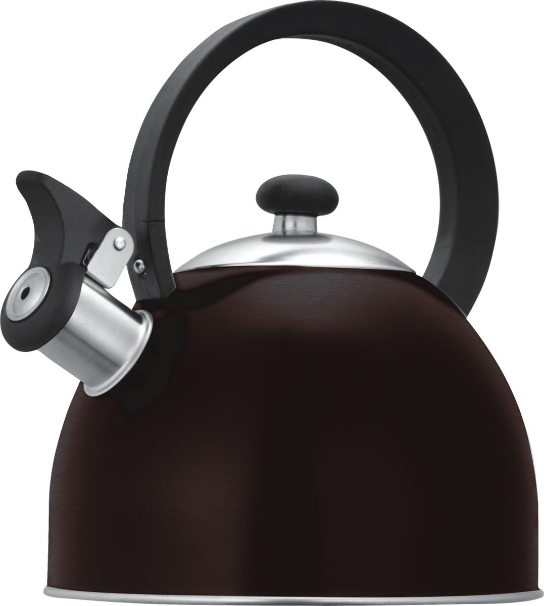 Чайник со свистком Lumme, цвет: шоколад, 1,8 л. LU-256LU-256 шоколадцветной со свистком 1,8л нержавеющая сталь, фиксированная ручка