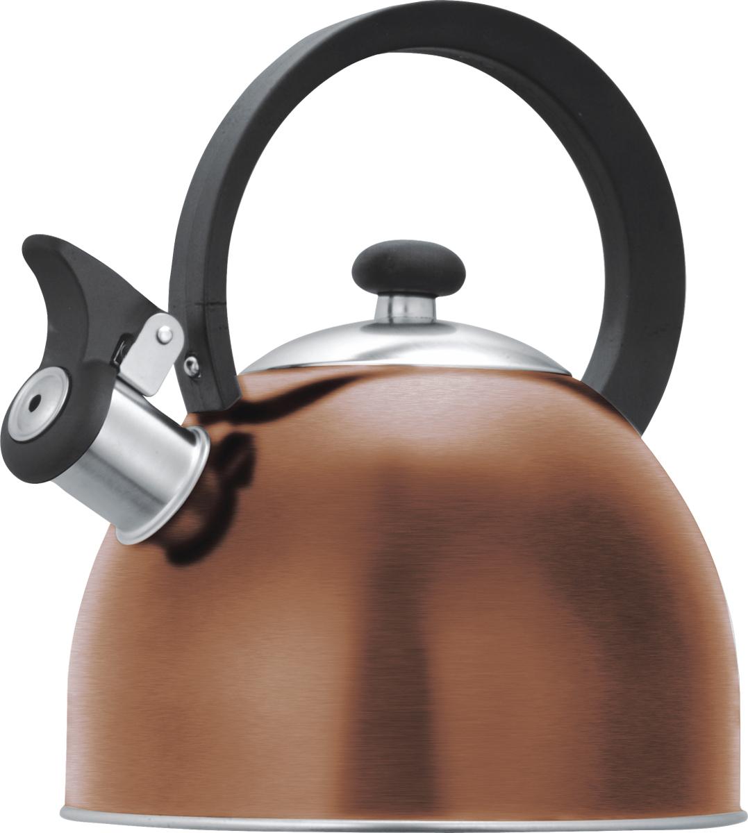 Чайник со свистком Lumme, цвет: медь, 1,8 л. LU-256LU-256 медьцветной со свистком 1,8л нержавеющая сталь, фиксированная ручка