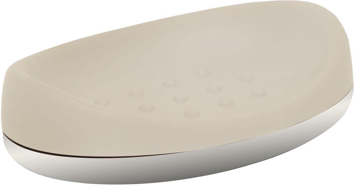 Мыльница Proffi Home, цвет: ваниль, хром, 14 х 9,8 х 3,5 см19201Мыльница Proffi Home - это стильный аксессуар для хранения мыла. Мыльница выполнена из пластика с каучуковым покрытием и дополнена хромированными элементами. Каучуковое покрытие обеспечивает антискользящий эффект, а пластик отличается легкостью, прочностью и долговечностью. Рифленое дно предотвращает размокание и соскальзывание мыла. Благодаря лаконичной форме и хромированным деталям такой аксессуар отлично впишется в любой интерьер ванной комнаты.