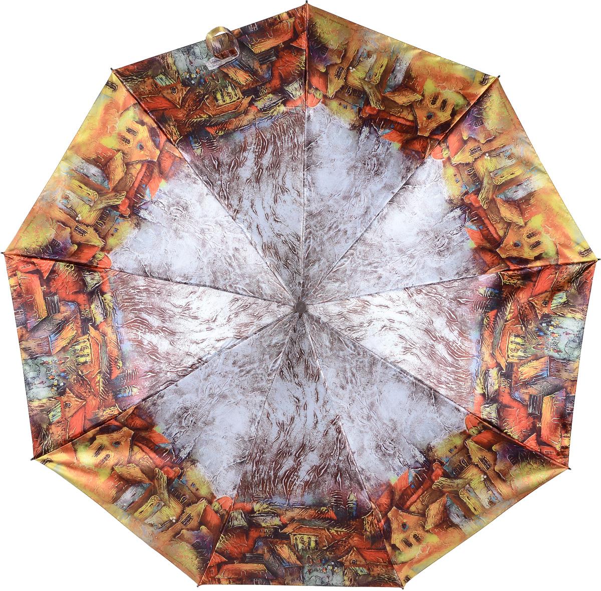 Зонт женский Zest, цвет: оранжевый, серый. 23944-244123944-2441Женский зонт Zest в 3 сложения изготовлен из сатина. Модель зонта выполнена в механизме - полный автомат, оснащена системой Антиветер, которая позволяет спицам при порывах ветра выгибаться наизнанку и при этом не ломаться. В закрытом виде застегивается хлястиком на липучке. Удобная ручка выполнена из пластика.