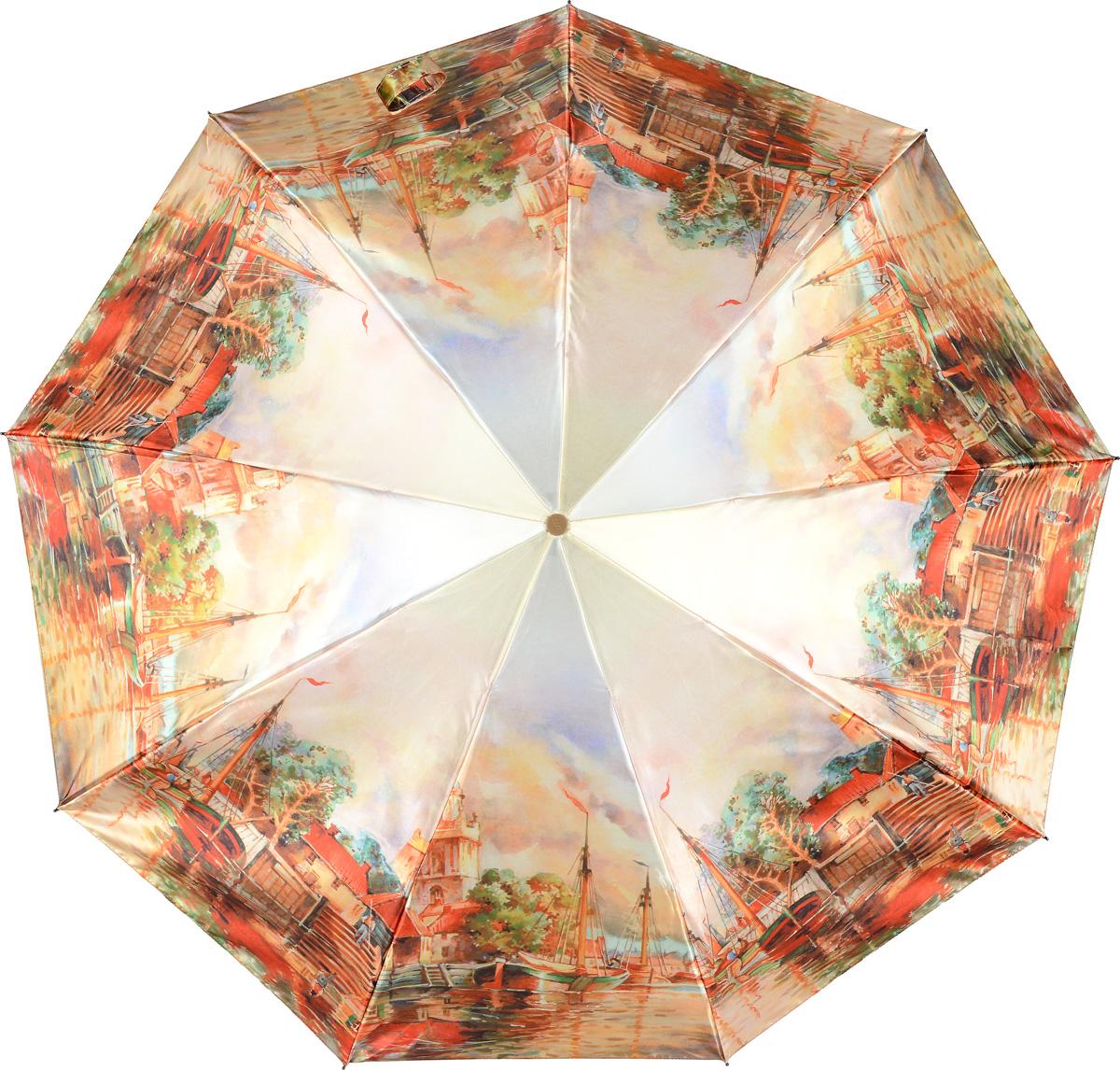Зонт женский Zest, цвет: светло-бежевый, красный, зеленый. 23944-305423944-3054Женский зонт Zest в 3 сложения изготовлен из сатина. Модель зонта выполнена в механизме - полный автомат, оснащена системой Антиветер, которая позволяет спицам при порывах ветра выгибаться наизнанку и при этом не ломаться. В закрытом виде застегивается хлястиком на липучке. Удобная ручка выполнена из пластика. Модель оформлена оригинальным принтом.