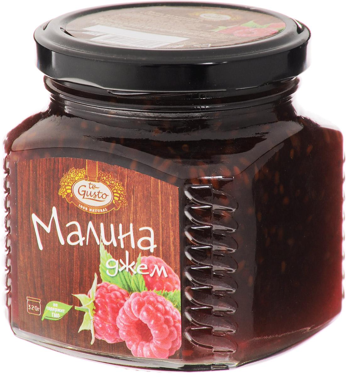 te Gusto Джем из малины, 320 г0120710Ароматный джем te Gusto сварен из малины, имеет желеобразную консистенцию с крупными кусочками фруктов. Для приготовления используются только свежие, тщательно отобранные плоды, созревшие в экологически чистых местах.Содержащиеся в малине вещества способствуют разжижению крови, препятствуя образованию тромбов. Благодаря высокому содержанию витамина С, малина становится незаменимым продуктом для повышения сил организма. Аромат и рубиновый оттенок повышают настроение, помогая побороть депрессию. Постоянное употребление малинового джема позволит вам укрепить сосуды.