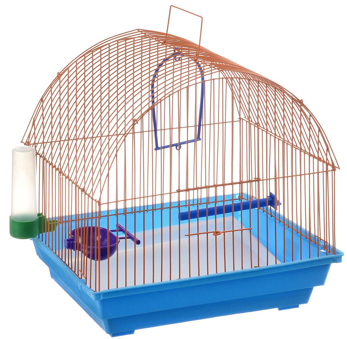 Клетка для птиц ЗооМарк, цвет: синий поддон, оранжевая решетка, 35 х 28 х 34 см420СОКлетка ЗооМарк, выполненная из полипропилена и металла с эмалированным покрытием, предназначена для мелких птиц. Изделие состоит из большого поддона и решетки. Клетка снабжена металлической дверцей. В основании клетки находится малый поддон. Клетка удобна в использовании и легко чистится. Она оснащена жердочкой, кольцом для птицы, поилкой, кормушкой и подвижной ручкой для удобной переноски. Комплектация: - клетка с поддоном, - малый поддон; - поилка; - кормушка; - кольцо.