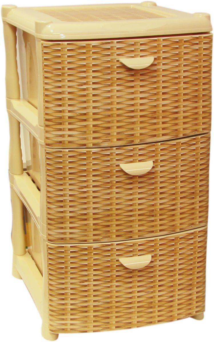 Комод Idea Альт Деко, цвет: ротанг, 48,5 х 39 х 40,5 см, 3 секцииМ 2804Комод Idea Альт Деко изготовлен из высококачественного пластика. Ящики оформлены изображением плетеных элементов. Комод предназначен для хранения различных вещей и состоит из 3 вместительных выдвижных секций. Такой необычный и яркий комод надежно защитит вещи от загрязнений, пыли и моли, а также позволит вам хранить их компактно и с удобством. Размер комода: 48,5 х 39 х 40,5 см.