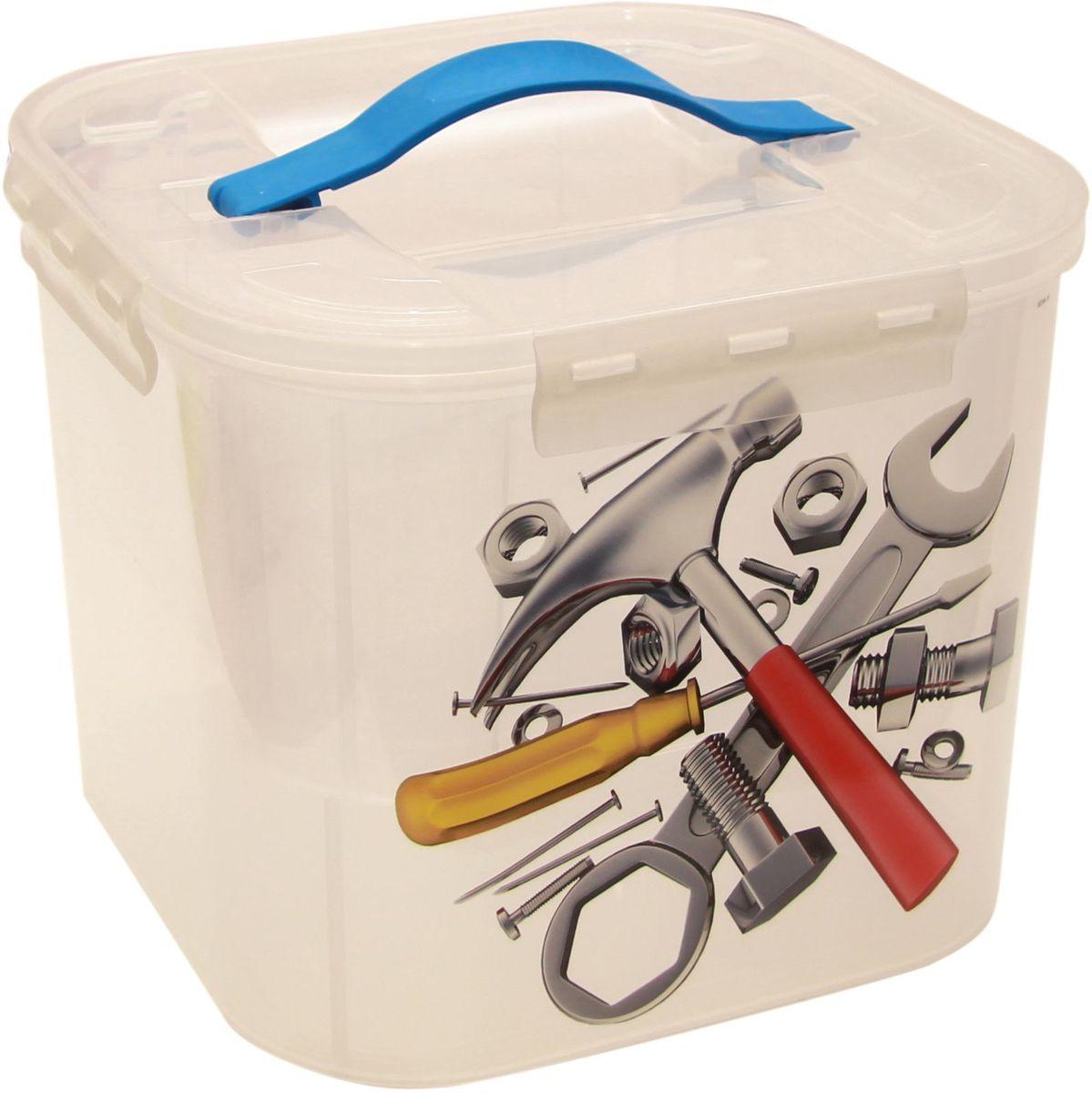 Контейнер для хранения Idea Деко. Инструменты, 23 х 23 х 18 см, с вкладышем, 7 л. М 2824М 2824