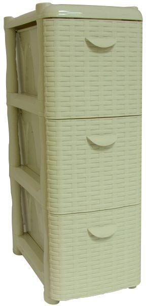 Комод Idea Ротанг, цвет: белый ротанг, 26,2 х 50,2 х 48 см, 3 секции. М 281394672Комод Idea Ротанг изготовлен из высококачественного пластика. Ящики оформлены изображением плетеных элементов. Комод предназначен для хранения различных вещей и состоит из 3 вместительных выдвижных секций. Такой необычный и яркий комод надежно защитит вещи от загрязнений, пыли и моли, а также позволит вам хранить их компактно и с удобством.Размер комода: 26,2 х 50,2 х 48 см.